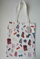 RADLEY - SPELL CHECK - NATURAL COTTON CANVAS TOTE / SHOPPER - RADLEY DOG LETTERS