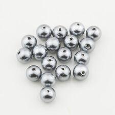 6mm Gunmetal Acrylic Round Faux Pearl Bead Vintage Japanese 50pcs 10306006