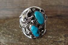"""Navajo Sterling Silver Wolf """"Lobo"""" Turquoise Ring Size 12- Jeanette Saunders"""