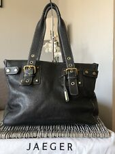 Designer Jaeger Genuine Leather shoulder bag, handbag- black + dust bag