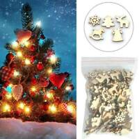 100x Christmas Snowflakes Wooden Pendants Xmas Tree Ornaments Home Hanging Decor