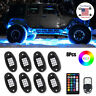 8Pcs RGB LED Rock Lights Pod Offroad Truck Boat Lamp Under Glow + Remote Control