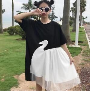 Womens T-Shirt Dress Loose Fit Spliced Asymmetry College Style Long Dress Korean
