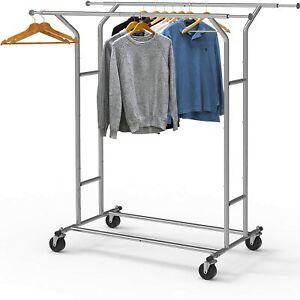 Houseware Heavy Duty Double Rail Clothing Garment Rack, Chrome