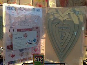 5 Nested Long Hearts Quilting Template