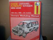 Haynes Repair Manual DODGE CARAVAN&PLYMOUTH VOYAGER MINI-VANS 1984-1988