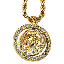 """Iced Out Two-Side Medusa Charm Pendant 30"""" Rope Chain Gold Tone Hip Hop Necklace"""