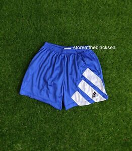 VINTAGE ADIDAS EQUIPMENT 1990'S FOOTBALL SHORTS SOCCER BLUE WHITE MEN 44