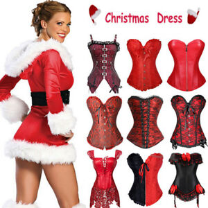 AU Women Sexy Miss Santa Corset Bustier Xmas Outfit Christmas Fancy Dress Outfit