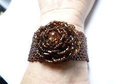 New listing Vintage brown hand sewn seed bead Rose bracelet