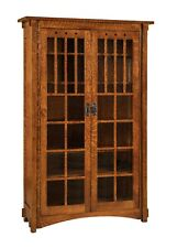 Amish Mission Arts And Crafts Bookcase Gl Doors Solid Wood Furniture 72
