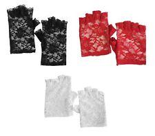 Negro Rojo Blanco Encaje de Flores sin Dedos Gótico Fiesta de Disfraces Corto