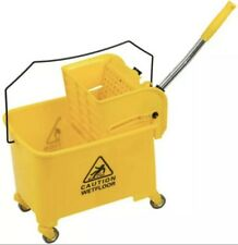 Mini Mop Bucket w/Wringer Combo Commercial Rolling Cleaning Cart Yellow 5 Gallon