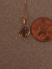 14k yellow gold amethyst heart pendant necklace