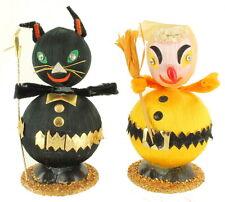 Vintage Halloween Figurine Decorations Round Ball Black Cat & Yellow Witch Japan