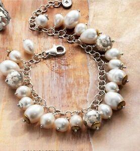 "Silpada ""Flirt Alert"" B3328 Sterling Silver Pearl Brass Cha Cha Bracelet"