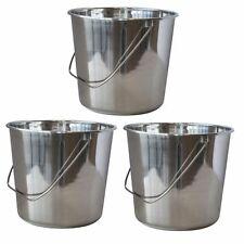 AmeriHome Large Stainless Steel Bucket 3 Pc Set