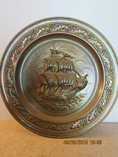 LARGE NAUTICAL ROUND BRASS CLIPPER SHIP PLATE