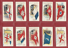 W.T. DAVIES & SONS - EXTREMELY RARE SET OF 50 SHIPS FLAGS & FUNNELS CARDS - 1913