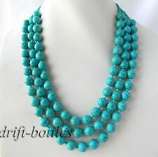 3Strands 19'' 10mm Round Turquoise Necklace