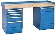 "LISTA XSWB52-72BT - 72"" x 30"" Industrial Workbench,2 Cabinets,6 Drawers,Wood Top"
