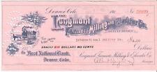 1920 Check The Longmont Farmer's Milling & Elevator Co. Denver  Colorado