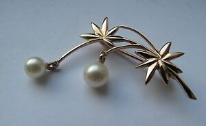 Russian Soviet Pink Rose Gold Brooch Pin White Pearls stamp 583 Брошка Жемчуг