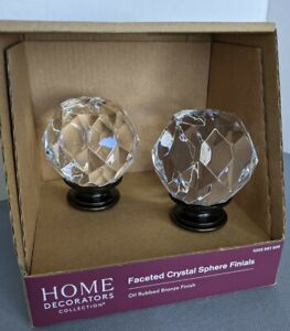 """Home Decorators 1"""" Faceted Crystal Sphere Drapery Rod Finial Bronze Finish"""