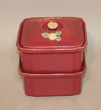 Coors Rosebud USA Art Pottery Rose 3 Piece Refrigerator Dish Set with Lid