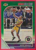 2019-20 NBA Hoops Premium Avery Bradley Green Prizm Card #91 Los Angeles Lakers