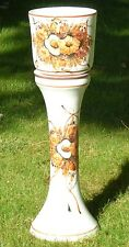 "Portugal 32"" Ceramic Pottery Jardiniere Planter & Pedestal Set Floral Fall Color"