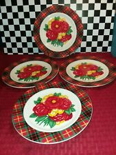 Midwest Of Cannon Falls Holly Holderman 4 Red & Green Plaid/Floral Salad Plates