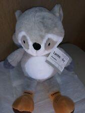 "Lambs & Ivy Little Campers 10"" Gray/White Plush Raccoon Stuffed Animal - Pumpkin"