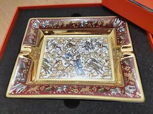 HERMES PARIS ASCHENBECHER Porzellan CIGAR ASHTRAY Chasse en Inde HHH (5