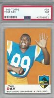 1969 Topps football card #38 Tom Day, San Diego Chargers graded PSA 7