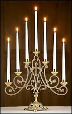 "MRT Ave Maria Brass 7 Candle Candelabra Christian Church Altar Supplies  14.5"" H"