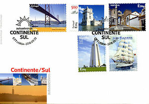 Portugal 2016 FDC Continente Sul 5v S/A Cover Bridges Ships Architecture Stamps