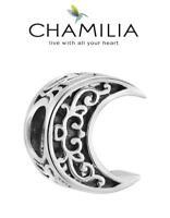 VGC Genuine CHAMILIA sterling silver CRESCENT MOON charm bead Halloween, stars