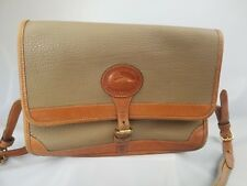 Vintage Dooney and Bourke All Weather Leather Crossbody Beige and Tan Purse