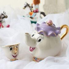 Potts y Chips Taza de tetera de dibujos animados de La Bella y La Bestia Sra