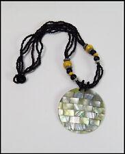 ein Halskette Perlmutt Muschel Damenkette edel Strand Sommer Anhänger schwarzNEU