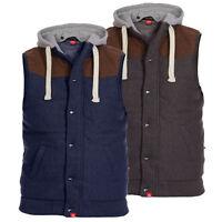 D555 Mens Designer Branded Quilted Fleece Lined Gillet W/ Detachable Hood, BNWT
