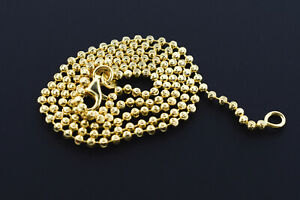 .925 Silver 14k Yellow Gold Plated Beaded Moon Cut Bead Ball Chain 3mm Necklace