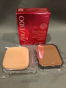 NIB Shiseido Sheer Matifying Compact Foundation Refill D30 Very Rich Brown