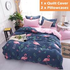 3pcs Flamingo Pattern Duvet Doona Quilt Cover Single/Double/Queen Size Bed Set