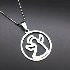 Stainless Steel Titanium Pendant Necklace W69 New Charm Lucky Angel Silver 316L