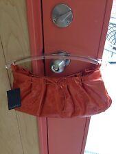 NWT Via Spiga Hobo Clutch - Orange- Clear Lucite Handles
