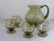 Saftservice, Krug mit 4 passenden Gläsern, grün, bemalt, wohl um 1950