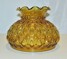 """Lamp Shade, Amber Glass, 6"""" High, Quilted Diamond Pattern, Fits a 7"""" Shade Ring"""