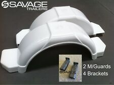 "BOAT TRAILER MUDGUARD KIT - 2 x 13"" MUDGUARDS & 4 BRACKETS - WHITE - AUST MADE"